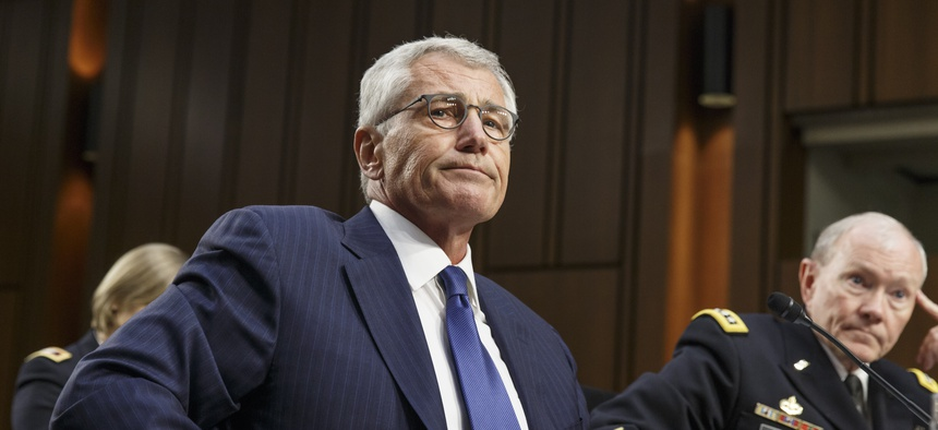 Defense Secretary Chuck Hagel testifies before the Senate Armed Services Committee, on September 16, 2014.