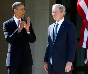 In this April 25, 2013 file photo, President Barack Obama stands with former president George W. Bush at the dedication of the George W. Bush presidential library on the campus of Southern Methodist University in Dallas.