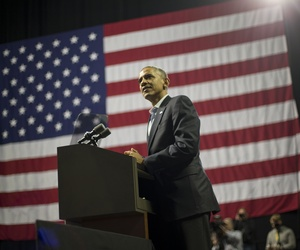 President Obama speaks during a campaign rally in Pennsylvania, on November 2, 2014.