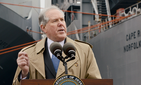 Under Secretary of Defense for Acquisition, Technology and Logistics Frank Kendall speaks to a group outside the MV Cape Ray, on January 2, 2014.