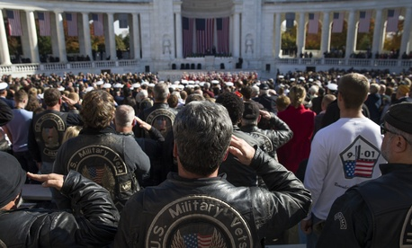 Military veterans salute during the annual Veterans Day Observance Ceremony at Arlington National Cemetery in Arlington, Va., on Tuesday, Nov. 11, 2014.