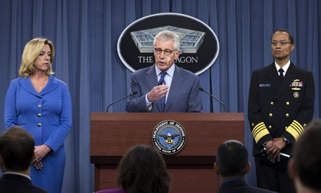 Defense Secretary Chuck Hagel, flanked by Air Force Secretary Deborah Lee James and U.S. Strategic Command Commander Adm. Cecil Haney, speaks during a news conference at the Pentagon, on November 14, 2014.