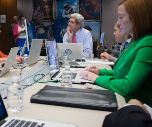 Secretary of State John Kerry hosts a Twitter chat at the State Department, on May 9, 2014.