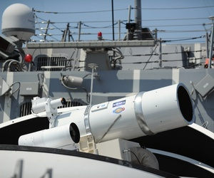 The Laser Weapon System as seen aboard the guided-missile destroyer USS Dewey in San Diego, Calif.