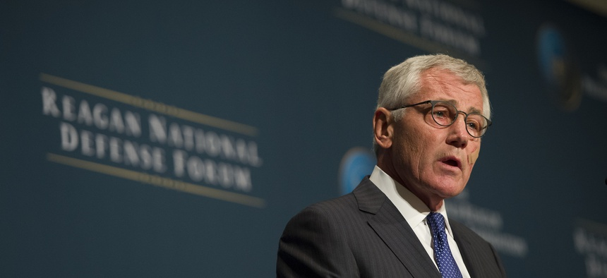 Defense Secretary Chuck Hagel remarks during the Reagan National Defense Forum at the Ronald Reagan Presidential Library in Simi Valley, Calif., on November 15, 2014.