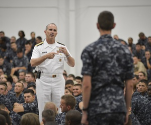 Chief of Naval Operations Adm. Jonathan Greenert speaks to more than 3,700 Sailors during an all-hands call with students and staff at Naval Education and Training Command.