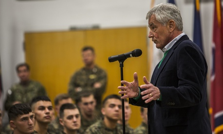 Defense Secretary Chuck Hagel speaks to Marines with II Marine Expeditionary Force and Special Purpose Marine Air Ground Task Force for Crisis Response at Camp Lejeune, N.C.,  on Tuesday..