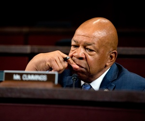 House Select Committee on Benghazi ranking member Elijah Cummings, D-Md., pauses as he speaks on Capitol Hill in Washington, Sept. 17, 2014.