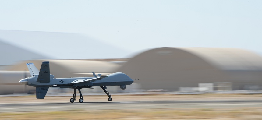 The 163rd Reconnaisance Wing flies an MQ-9 reaper over Victorville, Calif., on July 30, 2014.