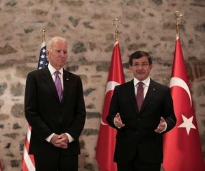 U.S. Vice President Joe Biden and Turkish Prime Minister Ahmet Davutoglu speak to the media before a meeting in Istanbul, Turkey, on November 21, 2014.