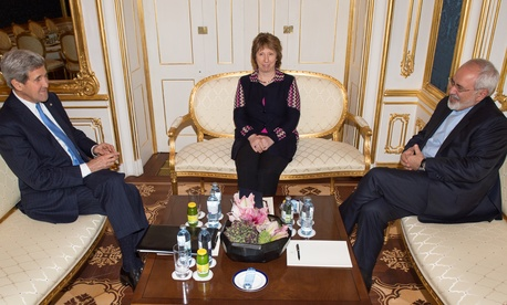 US Secretary of State John Kerry, former EU Foreign Policy Chief Catherine Ashton and Iranian Foreign Minister Mohammad Javad Zarif meet for talks on the sidelines of nuclear talks with Iran aimed at settling a dispute over Iran's nuclear program.