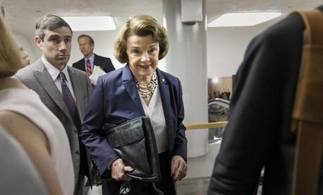 Senate Intelligence Committee Chair Sen. Dianne Feinstein, D-Calif., walks into the Senate chamber following a close door briefing.