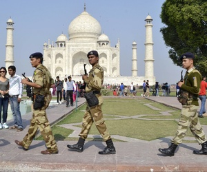 Indian security personnel patrol the premises of the Taj Mahal on the anniversary of the 2008 Mumbai terror attacks.