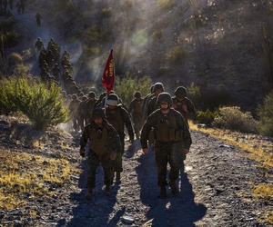 Marines at Marine Corps Air Station Yuma, Ariz., complete a hike at Telegraph Pass, on November 26, 2014.