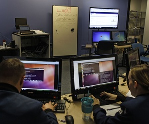 Cadets at the U.S. Air Force Academy in Colorado Springs, Colo., work at the Center for Cyberspace Research.