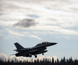 A South Korean KF-16 Fighting Falcon from Seosan Air Base takes off during a Red Flag Exercise at Eielson Air Force Base, on October 9, 2014.