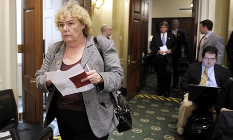 Rep. Zoe Lofgren, D-Calif., leaves a close door meeting of the House Committee on Standards of Official Conduct.