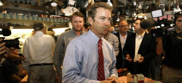 Sen. Rand Paul, R-Ky., mingles during a meet and greet with North Carolina Republican Senatorial candidate Thom Tillis, on October 1, 2014.