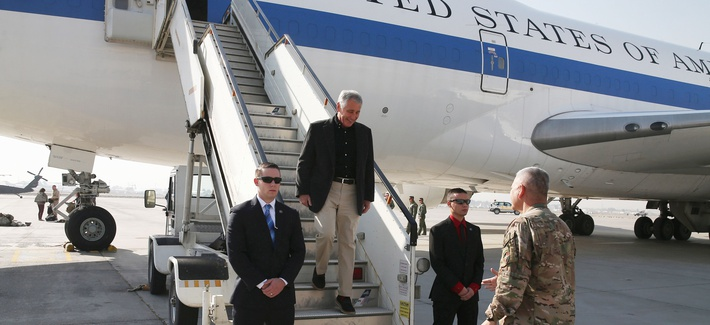 Defense Secretary Chuck Hagel arrives in Kabul, Afghanistan, on Saturday.
