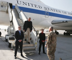 Defense Secretary Chuck Hagel arrives in Kabul, Afghanistan, on Saturday.