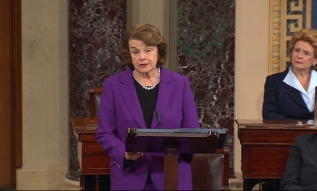 Senate Intelligence Committee Chair Sen. Dianne Feinstein, D-Calif., speaks on the floor of the Senate after a report describing the CIA's torture program was released.