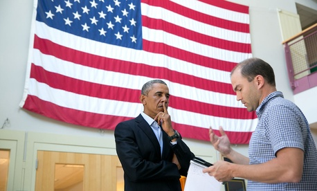 President Barack Obama talks with Ben Rhodes, Deputy National Security Advisor for Strategic Communications, after delivering a statement on the murder of journalist Jim Foley by the terrorist group ISIL, at Martha's Vineyard, Mass., Aug. 20, 2014.