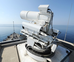 The Afloat Forward Staging Base of the USS Ponce. The Navy conducts an operational demonstration of the Office of Naval Research-sponsored Laser Weapon System (LaWS) while deployed to the Arabian Gulf on November 17th.