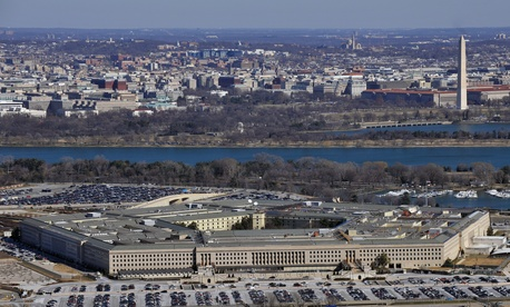 A view of the Pentagon and the Washington Monument.