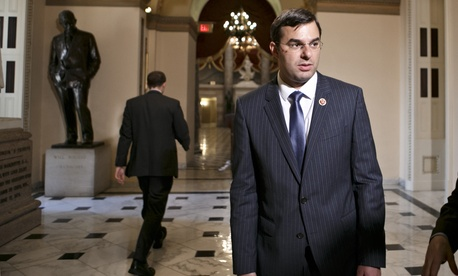 Rep. Justin Amash, R-Mich., speaks to reporters about a bill that would have curbed the NSA's authorities, on July 24, 2013.