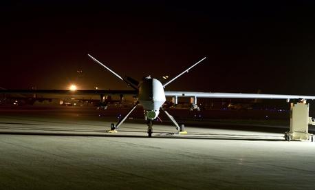 An MQ-9 Reaper sits on the flight line at Hurlburt Field, Fla., on April 24, 2014.