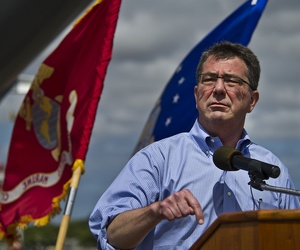 Then-Deputy Defense Secretary Ash Carter speaks to service members from U.S. Pacific Command aboard the USS Missouri on July 7, 2012.