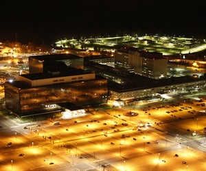 A photograph of the outside of the National Security Agency's main headquarters at Fort Meade, Maryland.