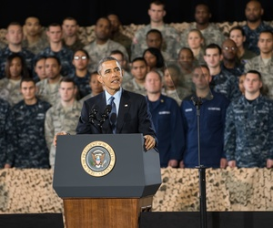 President Barack Obama addresses service members at Joint Base McGuire-Dix-Lakehurst in New Jersey on Dec. 15, 2014.