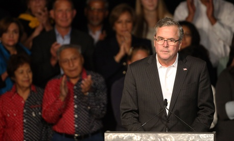 Former Florida Gov. Jeb Bush speaks to voters during a rally for Republican candidates in Castle Rock, Colo., on October 29, 2014.