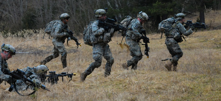 U.S. Army soldiers with the 173rd BCT move to a fighting position during a search and attack training exercise in Grafenwoehr, Germany.
