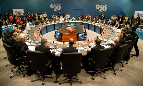 Leaders of the G-20 countries meet during a summit in Brisbane, Australia.