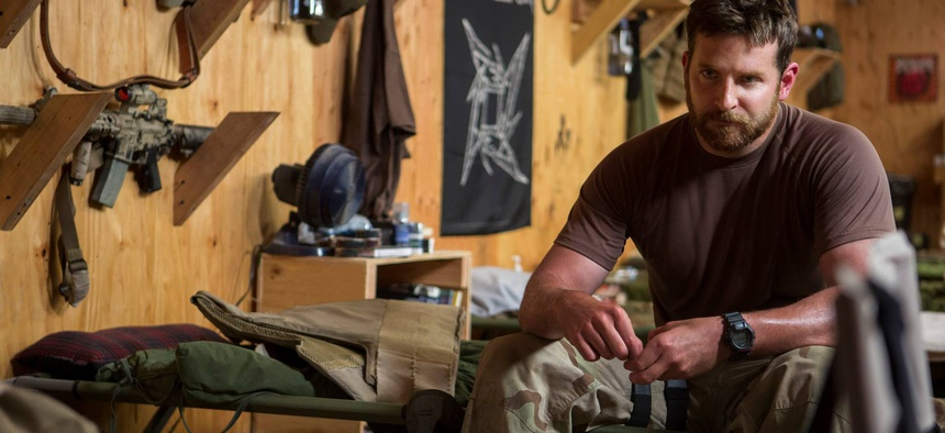 In this photo is actor Bradley Cooper, star of the film American Sniper, during a scene in the movie.