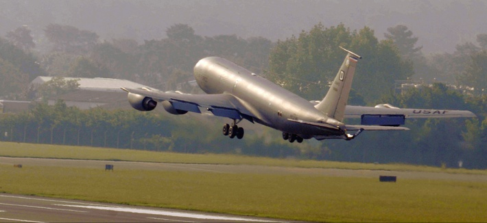 A KC-135 Stratotanker with the 100th Expeditionary Air Refueling Squadron departs from RAF Mildenhall, England.
