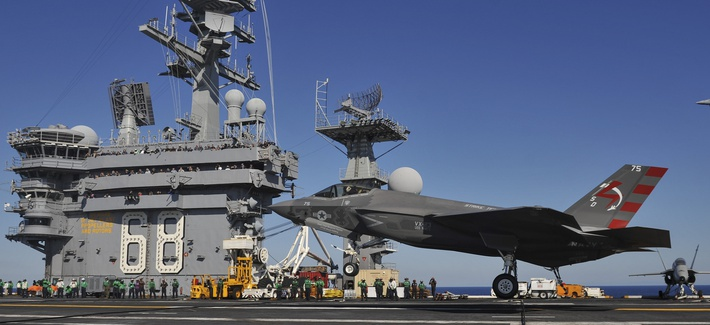 On November 3rd, 2014, an F-35C Lightning II carrier variant Joint Strike Fighter conducts it's first arrested landing aboard the aircraft carrier USS Nimitz (CVN 68). Nimitz is underway conducting routine training exercises.