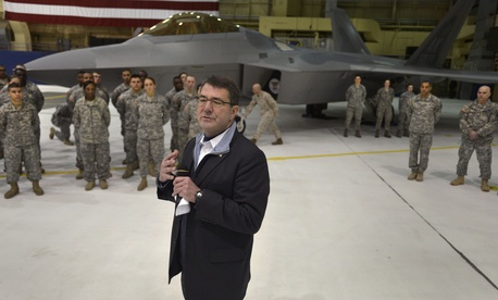 Then Deputy Secretary of Defense Ashton Carter visits troops at Joint Base Elmandorf, Alaska, on March 21, 2013.