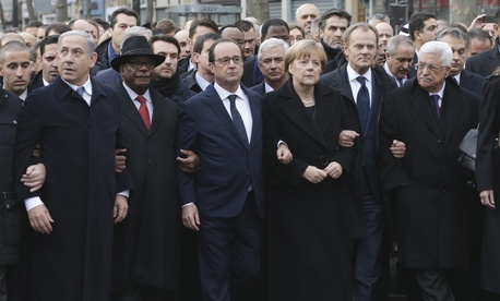 Leaders from around the world march during a rally against terrorism in Paris, on January 11, 2015