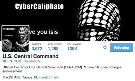 A screenshot of the U.S. Central Command's hacked Twitter account.