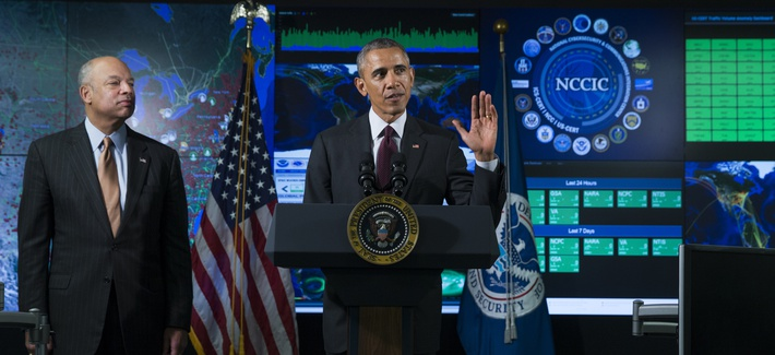 President Obama speaks at the National Cybersecurity and Communications Integration Center, in Arlington Va., on January 13, 2015.