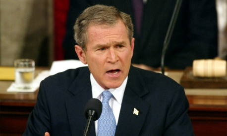 Former President George W. Bush speaks in front of Congress during the 2002 State of the Union Address, on January 22, 2002.