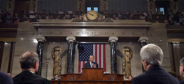 President Barack Obama delivers his State of the Union address to a joint session of Congress on Capitol Hill on Tuesday, Jan. 20, 2015, in Washington, D.C.