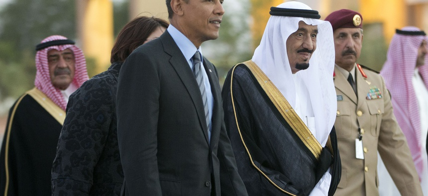 President Obama met King Salman when he was still crown prince, pictured here in Saudi Arabia, March 2014.