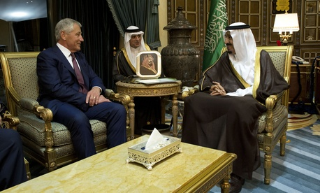 Defense Secretary Chuck Hagel meets with Saudi Arabian Deputy Defense Minister Salman bin Sultan bin Abdulaziz in Riyadh, Saudi Arabia, on December 9, 2013.