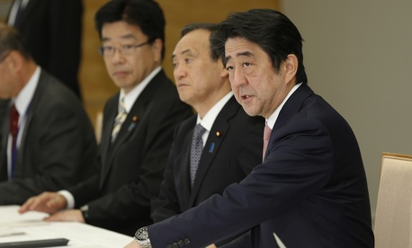 Japan's prime minister Shinzo Abe speaks during a press conference on the two Japanese hostage taken by the Islamic State, on January 21, 2015.