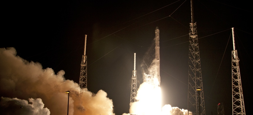 The SpaceX Falcoln 9 rocket lifts off from Space Launch Complex 40 at Cape Canaveral Air Force Station, in Cape Canaveral, Fla., on Jan. 10, 2015.