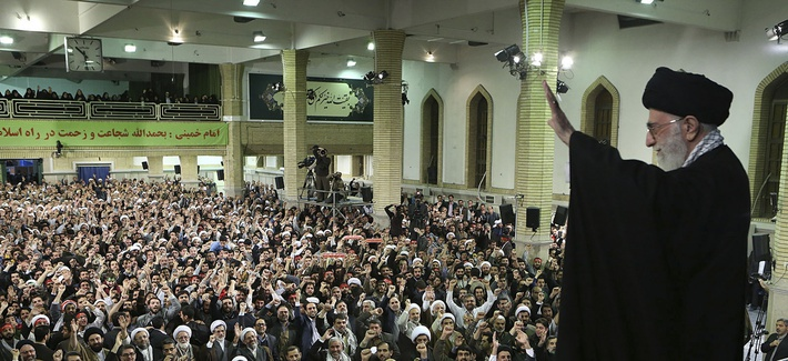 Supreme Leader Ayatollah Ali Khamenei waves to a crowd prior to his speech at his residence in Tehran, Iran, Wednesday, Jan. 7, 2015. Iran's supreme leader said Wednesday the United States cannot be trusted to lift sanctions in a future nuclear deal.